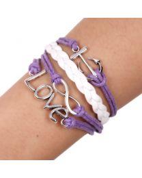 Lederen armbandje Love Anker -