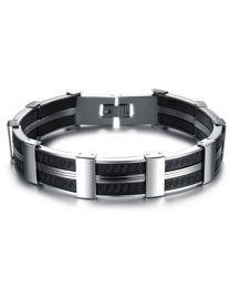 Heren Schakel Armband RVS met zwarte siliconen accenten 22cm -