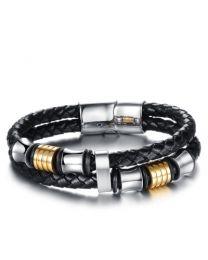 Leren Heren Armband Staal zwart met magneetsluiting 22cm -