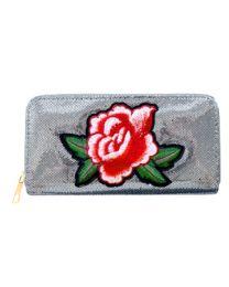 Portemonnee Patches Roos Metallic Grey -