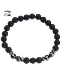 Fiell Heren Kralen Armband Natural Stone Black 21cm -