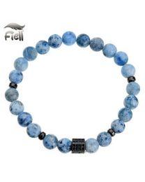 Fiell Heren Kralen Armband Natural Stone Labradorite Blue 22cm -