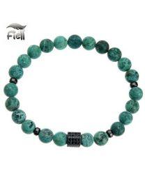 Fiell Heren Kralen Armband Natural Stone Labradorite Green 22cm -