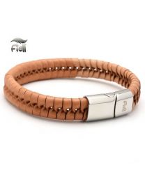 Fiell Genuine Leren Heren armband Light Brown 20cm -