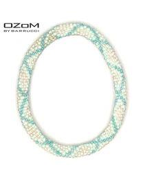 OZOM by Barrucci Roll-On Bracelet White Blue Striped -