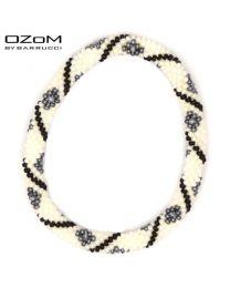 OZOM by Barrucci Roll-On Bracelet White Grey Flowers -