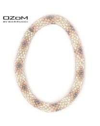 OZOM by Barrucci Roll-On Bracelet Silver Pink Flowers -