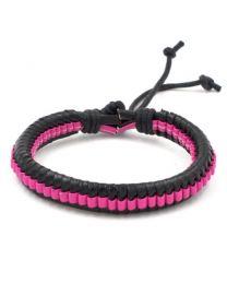 Heren Gevlochten Armband Black/Pink 17-21cm -
