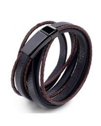 Heren Gevlochten Armband Black/Brown 19cm -