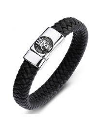Heren Armband Staal met Gevlochten Band King Skull 20cm -