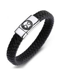 Heren Armband Staal met Gevlochten Band Panther 20cm -