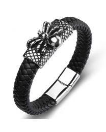 Heren Armband Staal met Gevlochten Band Spider 20cm -