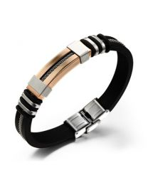 Heren Armband Siliconen Band met RVS draad Rose 19cm -
