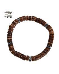 Fiell Armband Heren Houten Kralen Bruin 19cm -