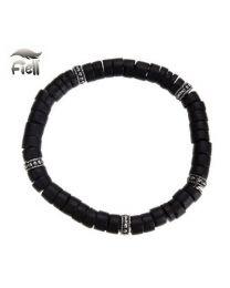 Fiell Armband Heren Houten Kralen Zwart 19cm -